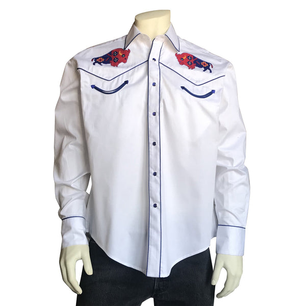 Rockmount Ranch Wear Men's Embroidered Bison White #6868