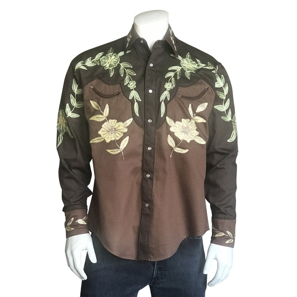 Rockmount Ranch Wear Men's Vintage Western Shirt Floral Brown and Gold Untucked