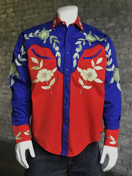 Rockmount Ranch Wear Men's Vintage Western Shirt Fancy Floral Red and Blue Front
