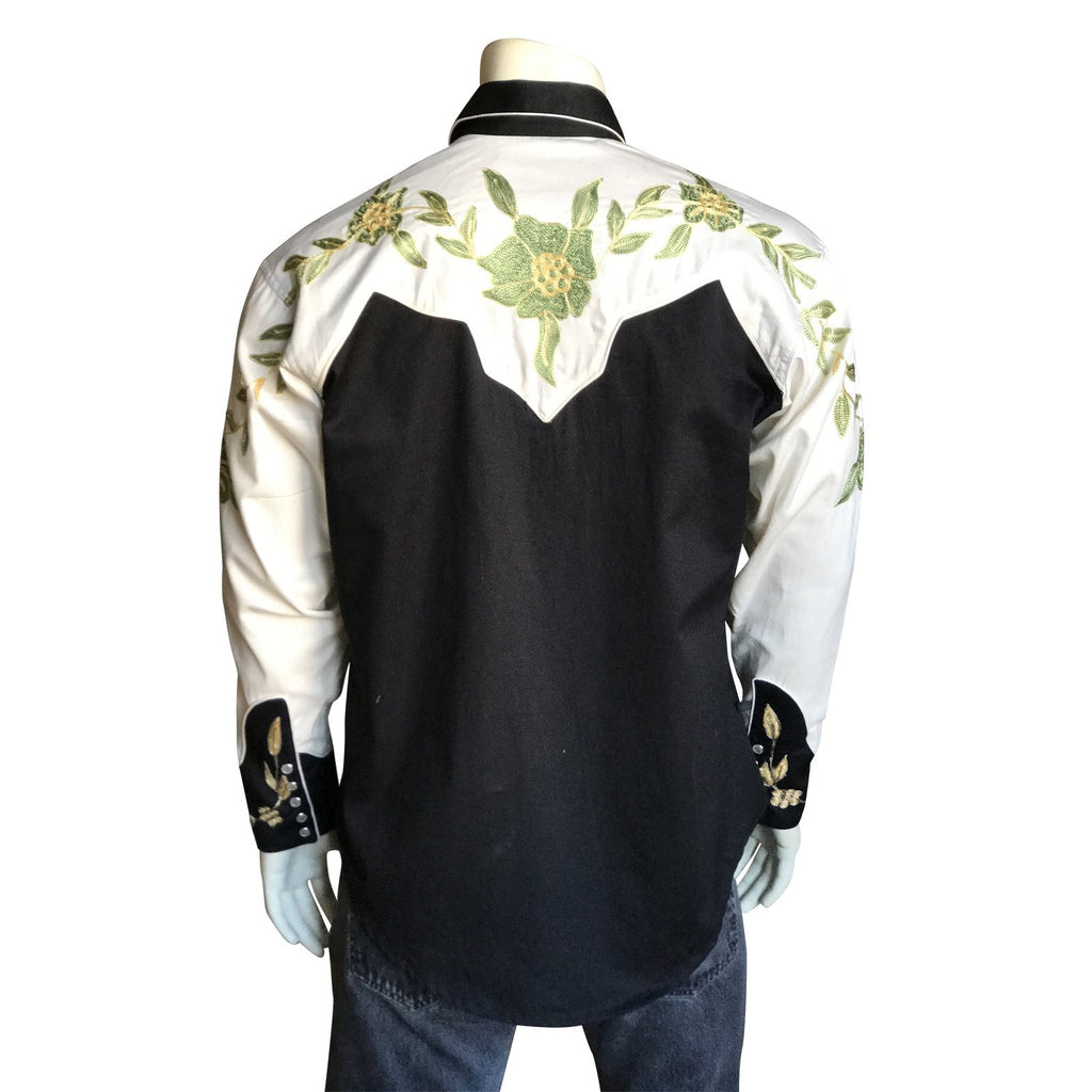 Vintage Inspired Western Shirt Men's Rockmount Ranch Wear 2 Tone Embroidery Back on Mannequin