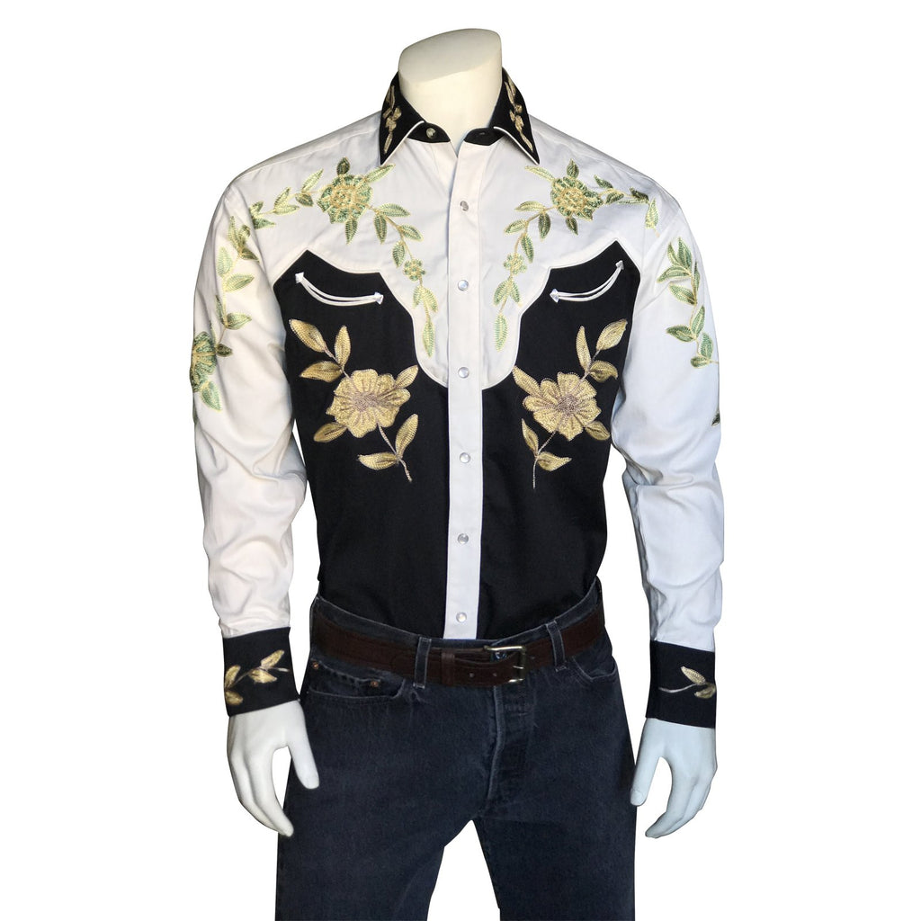 Vintage Inspired Western Shirt Men's Rockmount Ranch Wear 2 Tone Embroidery Front on Mannequin