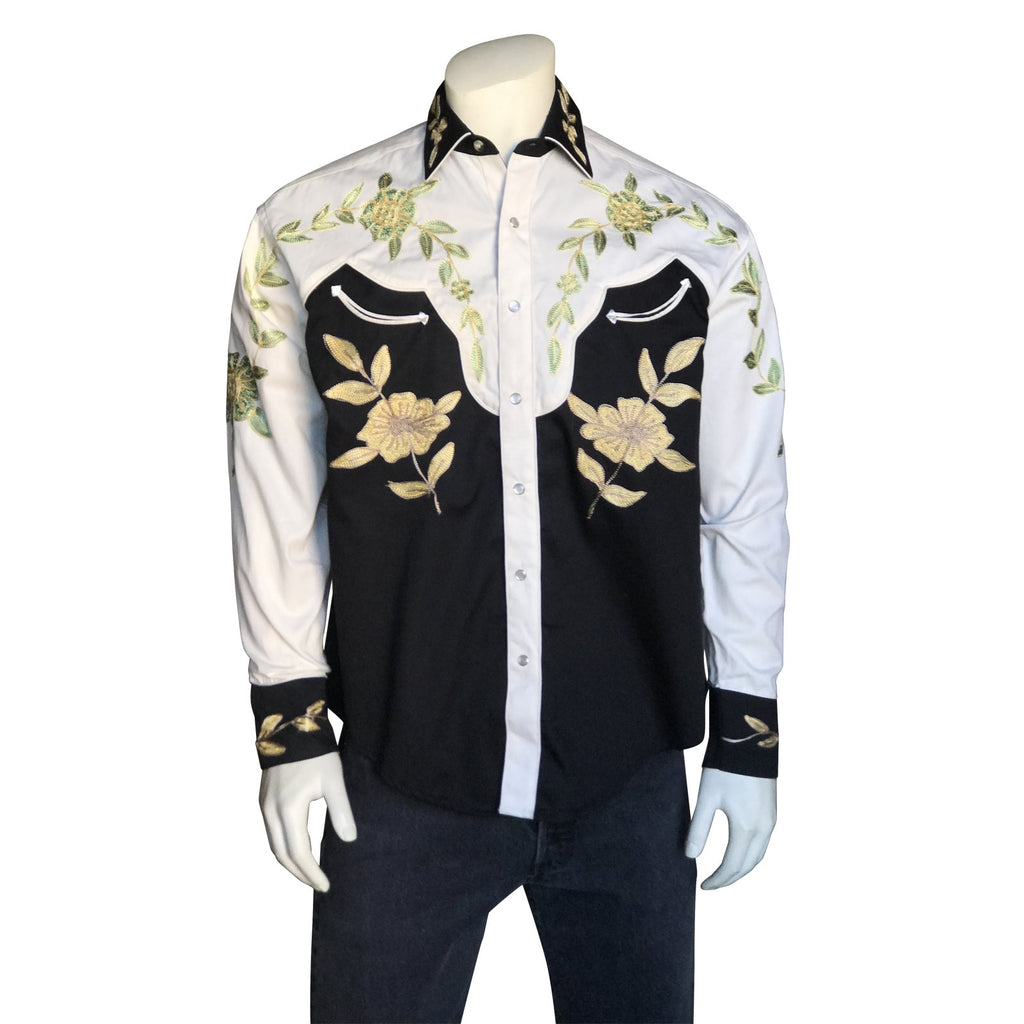 Vintage Inspired Western Shirt Men's Rockmount Ranch Wear 2 Tone Embroidery Front on Model