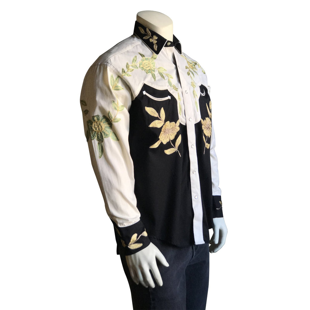 Vintage Inspired Western Shirt Men's Rockmount Ranch Wear 2 Tone Embroidery Side on Mannequin