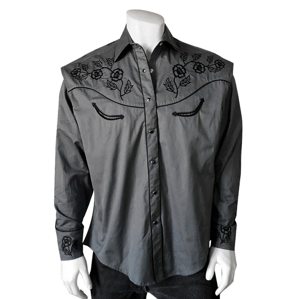 Rockmount Ranch Wear Men's Vintage Inspired Western Shirt Roses Grey #176872 Front
