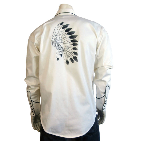 Rockmount Ranch Wear Men's Embroidered Warbonnet Shirt Front