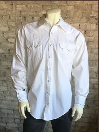 Rockmount Ranch Wear Mens Western Dress Shirt White Pique Modeled
