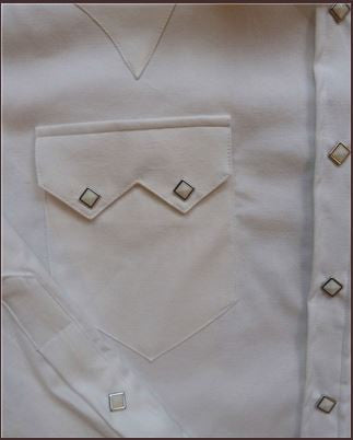 Rockmount Ranch Wear Mens Western Dress Shirt White Pique Pocket