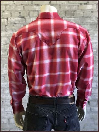 Rockmount Ranch Wear Mens Western Shirt Shadow Plaid Red Back