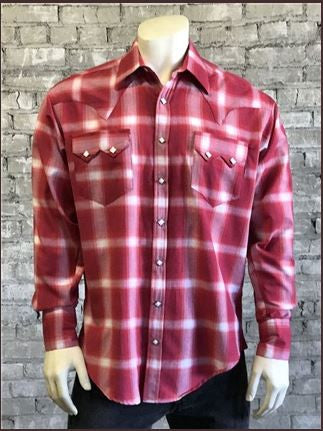 Rockmount Ranch Wear Men's Western Shirt Shadow Plaid Red Front