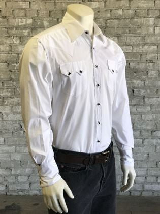 Rockmount Ranch Wear Mens Dress Shirt Pima Cotton Black Snaps Side Tucked