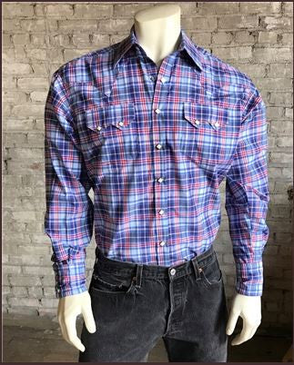Rockmount Ranch Wear Mens Plaid Shirt Blue Front Tucked