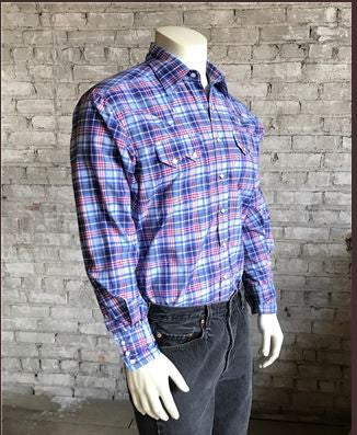 Rockmount Ranch Wear Mens Plaid Shirt Blue Side Tucked Modeled