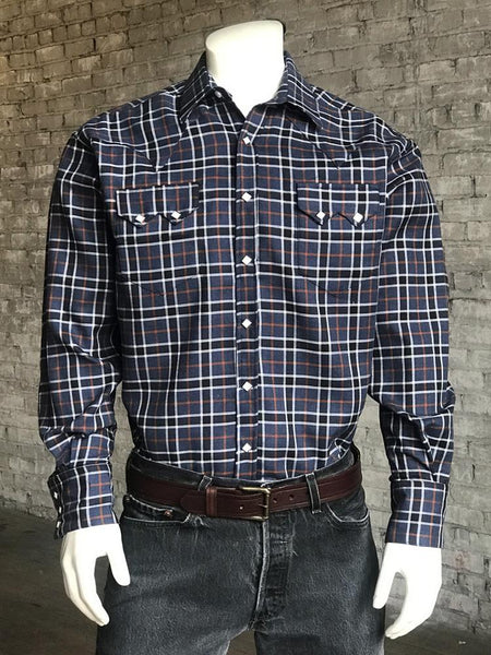 Rockmount Ranch Wear Men's Western Shirt Plaid Check Navy