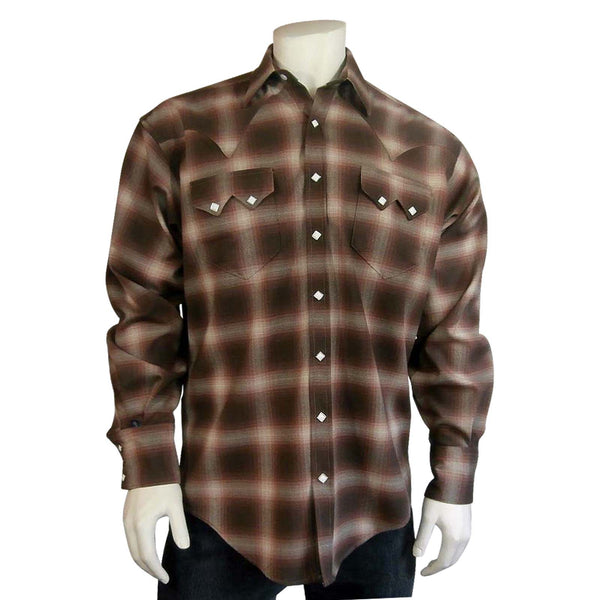 Rockmount Ranch Wear Men's Western Plaid Brown and Tan Front