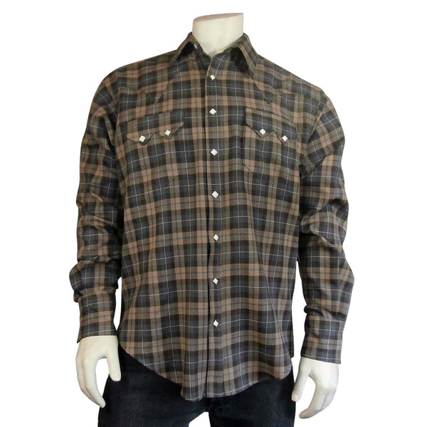 Rockmount Ranch Wear Men's Plaid Brown Grey Front