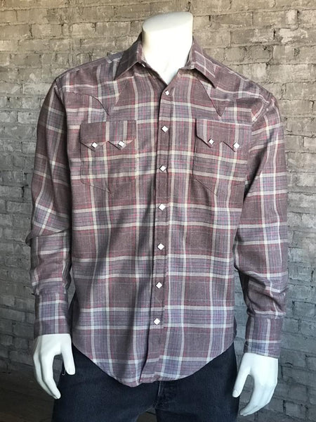 Rockmount Ranch Wear Men's Plaid Brown and Red Front Tucked
