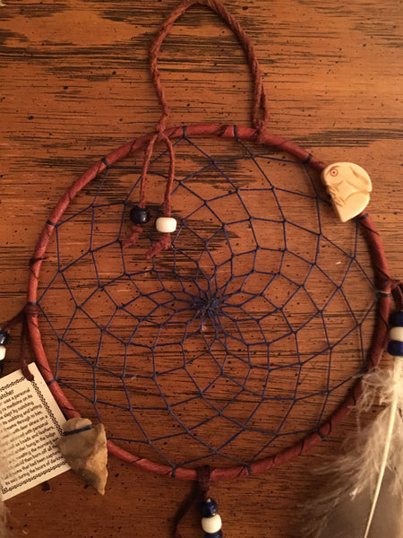 "Authentic Navajo Dream Catcher 6"" Brown Wrap Purple Web"
