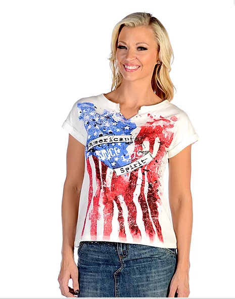 Liberty Wear Ladies' Top American Spirit Front #7004