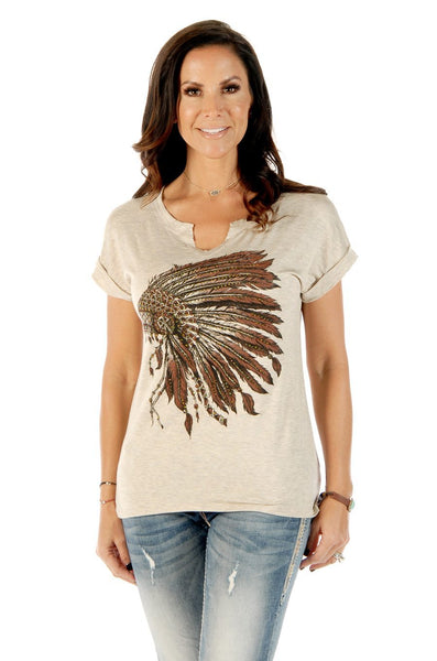 Liberty Wear Women's T-Shirt Battle Headdress Oat Front View