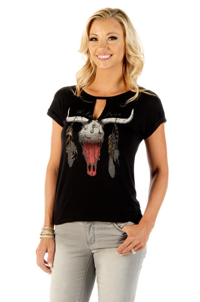 Liberty Wear Women's T-Shirt Wild & Free Steer Skull and Feathers Short Sleeve Black Front View