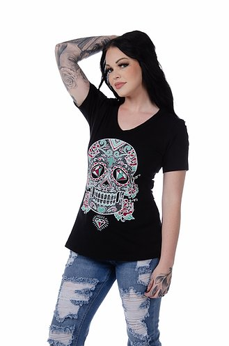 Liberty Wear Collection Tops: Sweet and Sassy Skull