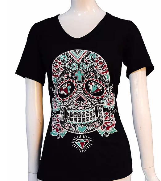 Liberty Wear Sweet and Sassy Sugar Skull Front #117050
