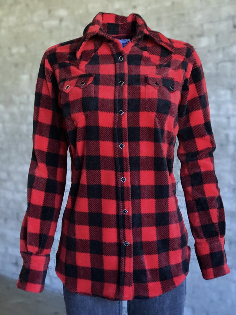 Rockmount Ranch Wear Ladies' Western Flannel Shirt Buffalo Check Front