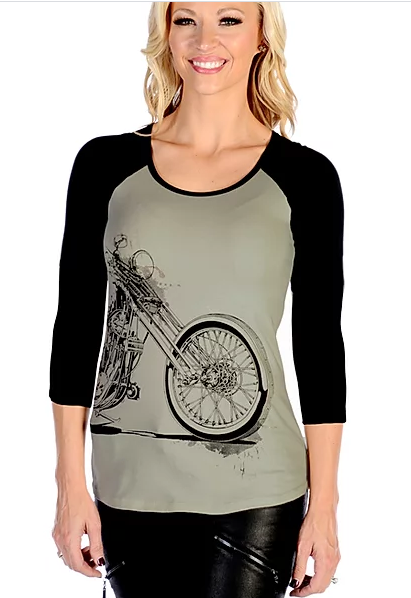 Liberty Wear T-Shirt Vintage Bike Wrap Around Design Grey with Black Sleeves Front
