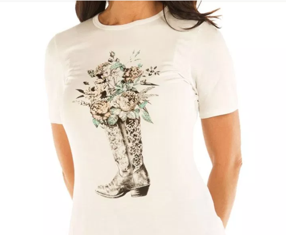 Liberty Wear Women's Top Boot Full of Roses Ivory Front