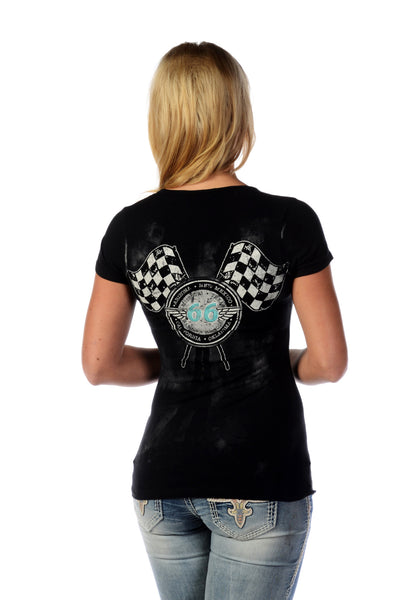 Liberty Wear T-Shirt Bikin' Route 66 Black Front