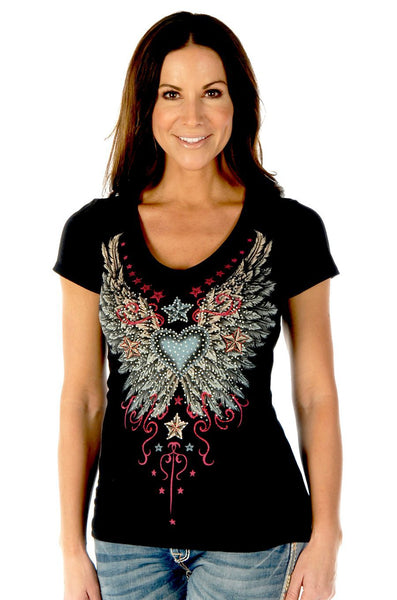 Liberty Wear Women's T-Shirt Vintage Heart & Wings Black Front View