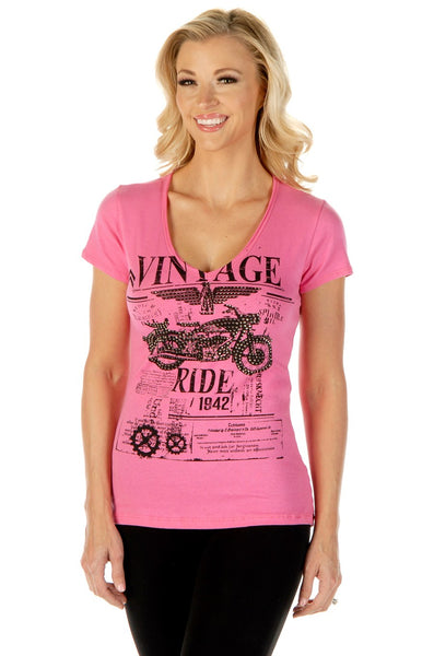 Liberty Wear Women's T-Shirt Vintage Ride Pink Front View
