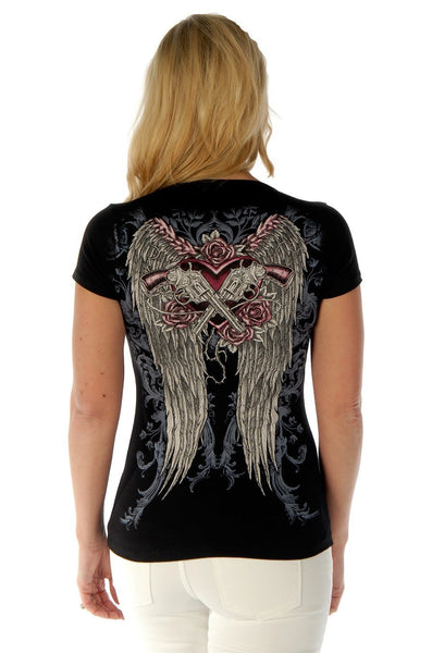 Liberty Wear Women's T-Shirt Guns & Wings Black Short Sleeve Front View