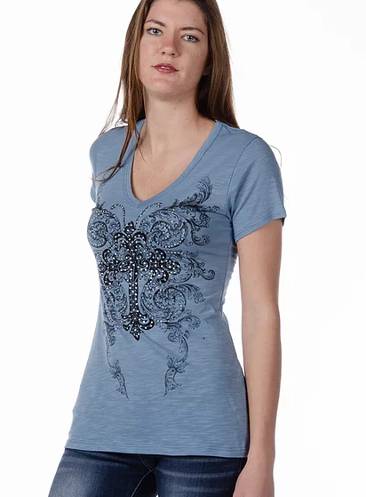 Liberty Wear Ryder Top Dusty Blue Front #117170