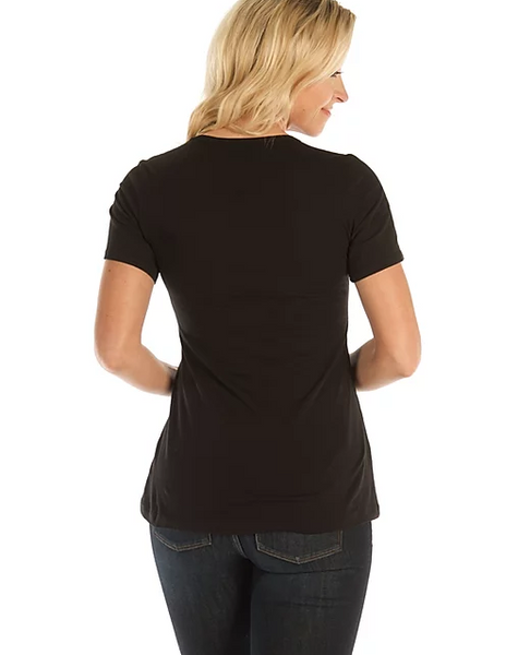 Liberty Wear Ladies' T-Shirt Route 66 Scoop Black Front #7174