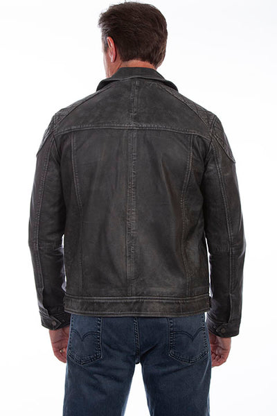 Scully Men's Leather Jacket Front Woven Details Black