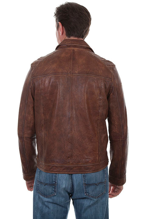 Scully Men's Leather Jacket Casual Zip Front with Woven Details Back