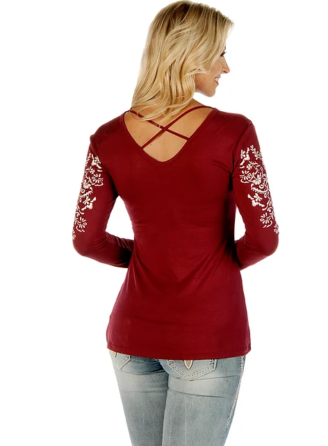Liberty Wear Crossed Elegance Burgundy Back #117290A