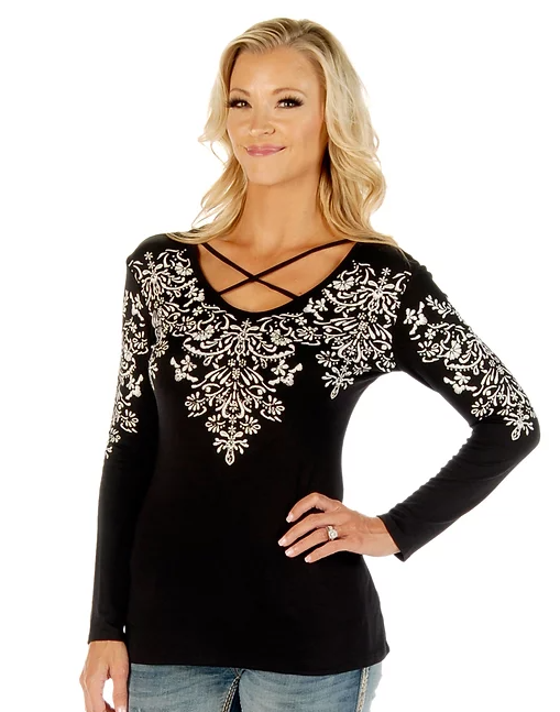 Liberty Wear Crossed Elegance Black Front #117290B