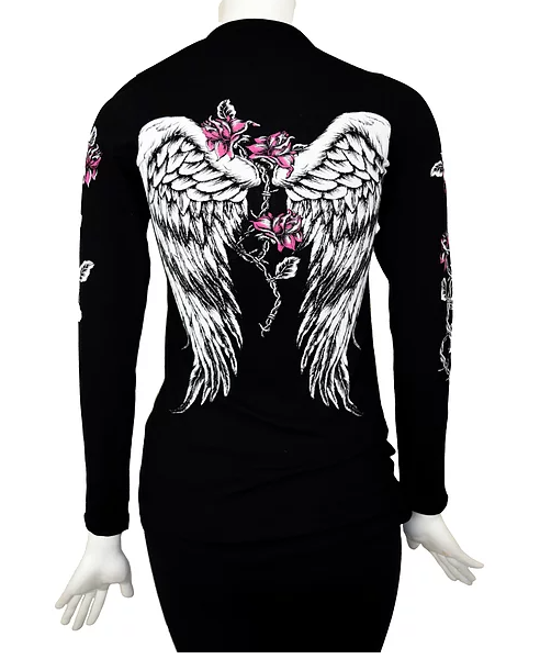 Black Liberty Wear Women/'s Embellished Barbed Wire /& Roses Long Sleeve Top
