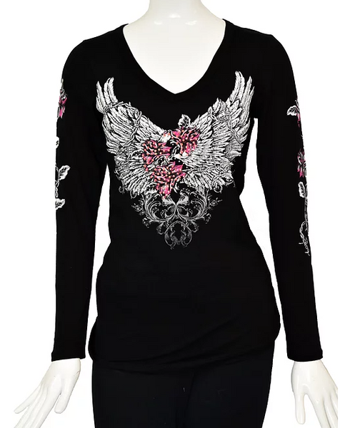 Liberty Wear Barbed Wire and Roses Top Front #117293