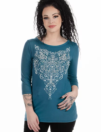 Liberty Wear Charlotte Embellished Scroll Top Front #117296