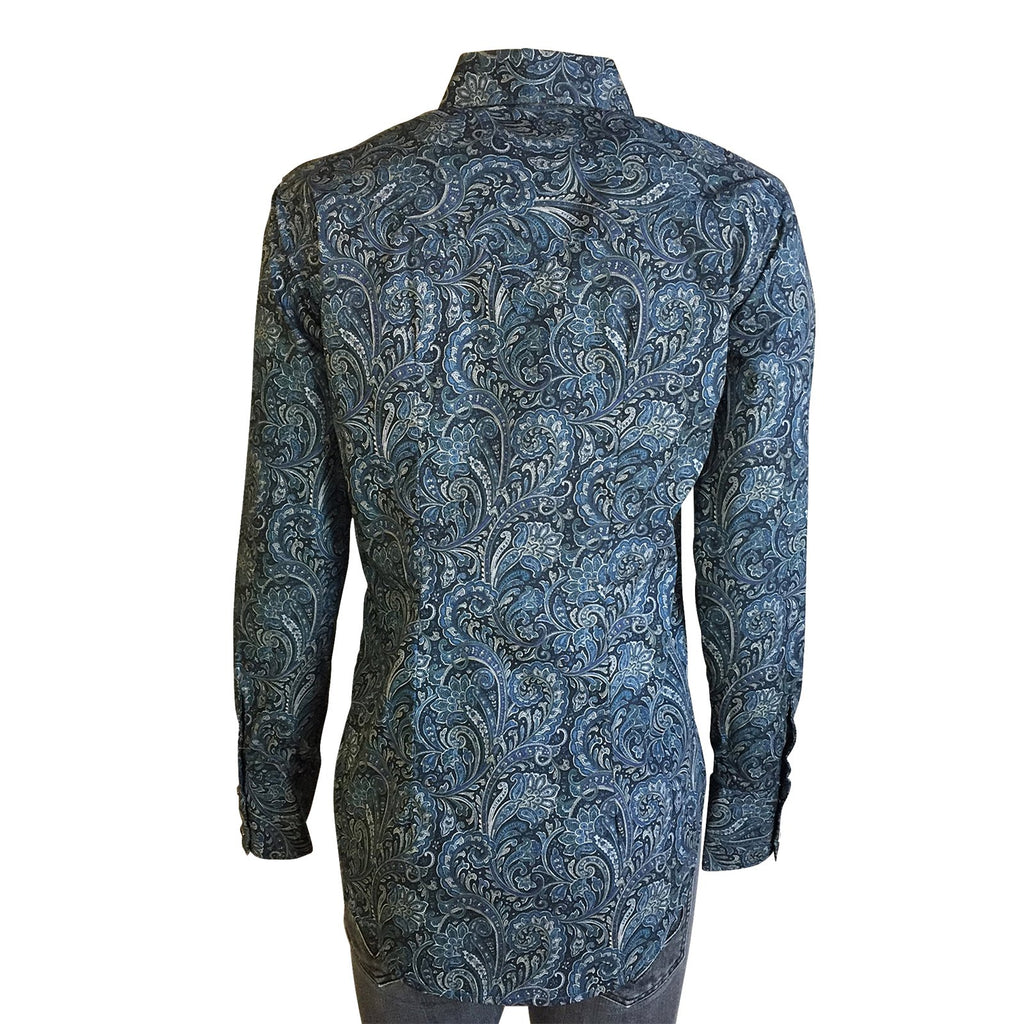 Women's Western Shirt Collection: Rockmount Paisley Print Navy