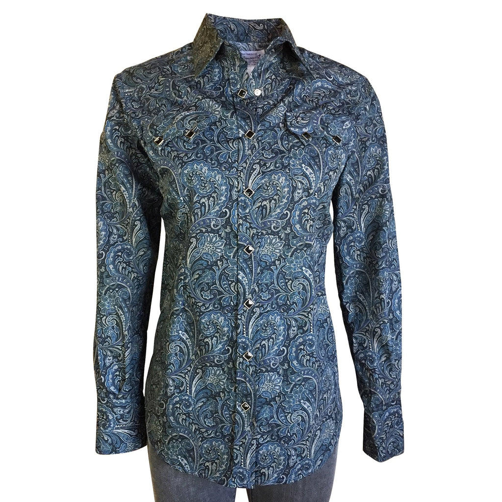 Rockmount Ranch Wear Ladies #731 Western Paisley Shirt Navy Front