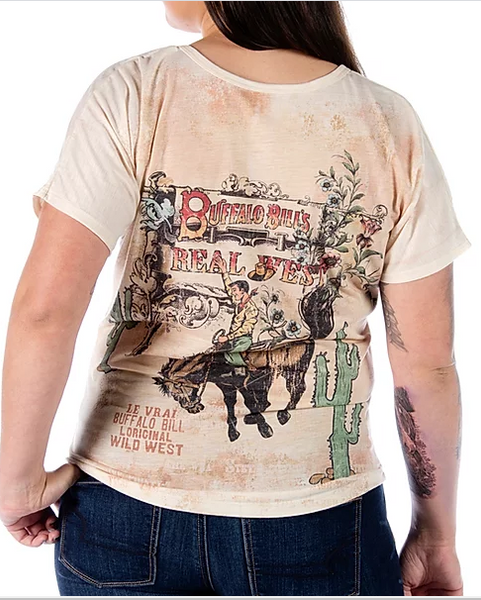 LIberty Wear Ladies' Buffalo Bill Print Top Front #7444
