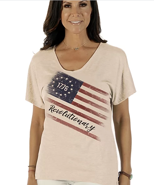 Liberty Wear Ladies' Patriotic Tee Betsy Ross Flag Front #7450