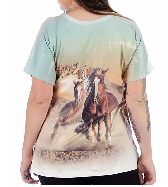 Liberty Wear Ladies' Running Horses Print T-Shirt Front #7485