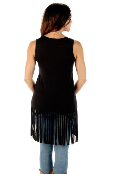 Liberty Wear Blame It All On My Roots Tank Dress with Fringe Black Front View