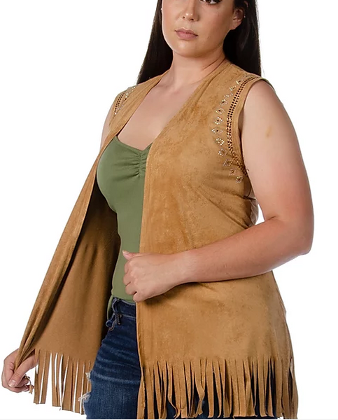 LIberty Wear Ladies' Microsuede Tan Vest My Tribe #7504 Front