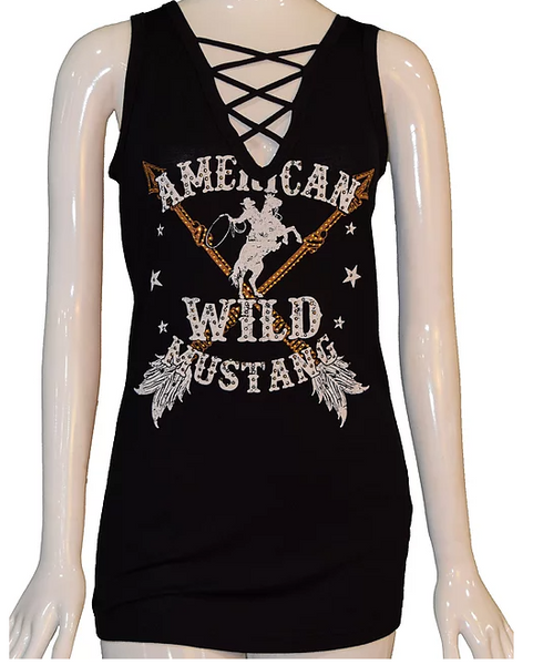 Liberty Wear Collection Tops: Tank American Wild Mustang Black